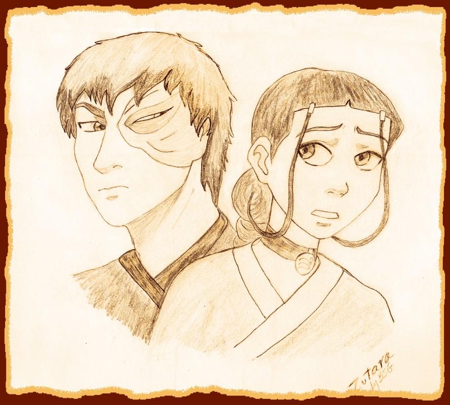 """Zuko and Katara """"tea stain"""" sketch by BSG"""